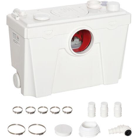 HOMCOM® Hebeanlage und Abwasserpumpe | Kompakt | Polypropylen | 40 x 29 x 28 cm | Weiß - weiß