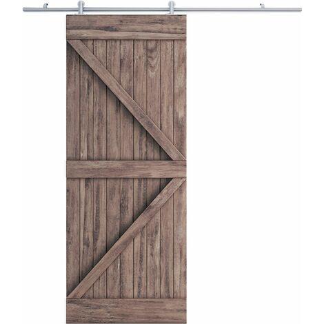 HOMCOM Herraje para Puerta Corredera 6.6FT/200cm Guía Riel con Tornillos Carga 150 kg - Plateado