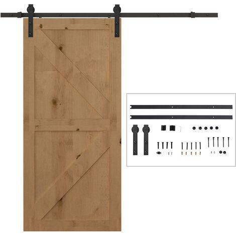HOMCOM Herraje Puerta Corredera 200cm Kit Riel Adecuado para 1 Puerta de 100cm de Ancho - Negro