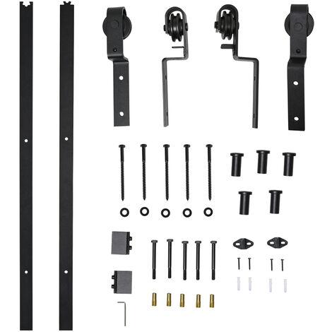"""main image of """"HOMCOM Herrajes Puerta Corredera 200 cm Kit de Acero Accesorios 2 Puertas Deslizantes - negro"""""""