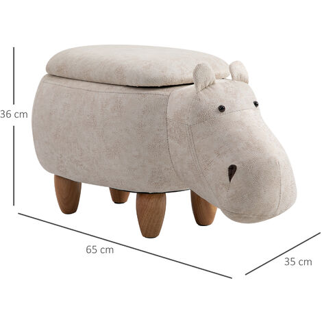 HOMCOM Hippo Storage Stool Cute Kids Decoration Footrest Wood Frame Legs Cream