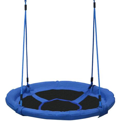 HOMCOM HOMCOM Columpio Nido Infantil Jardín Asiento Cómodo y Desmontable Carga hasta 100kg Gran Tamaño φ100x180cm Azul y Negro
