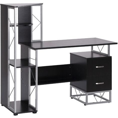"main image of ""HOMCOM Home Office Desk & Shelf Unit Multi-Level w/ Steel Frame Workstation"""