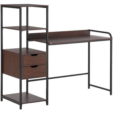 HOMCOM Home Office Work Desk w/ Side Shelves & Drawers Computer Writing Table