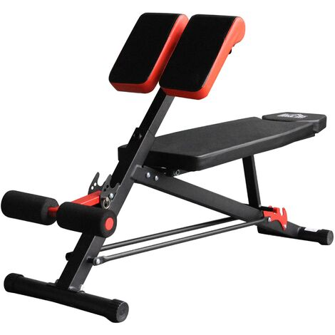 HOMCOM Hyper Dumbbell Bench Duo Multi Fitness Machine Home Gym Exercise Black Red