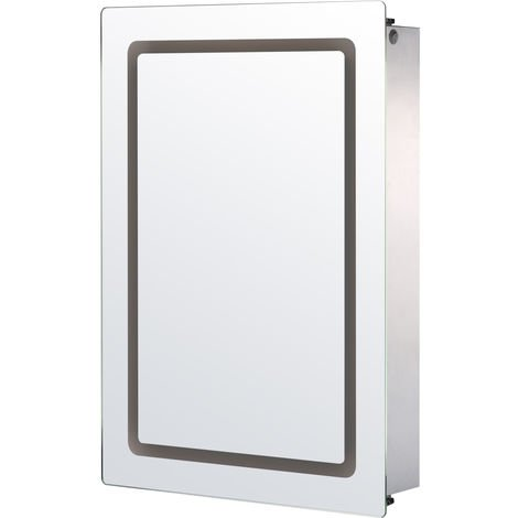 Homcom Illuminated LED Mirror Cabinet 3 Compartments Storage w/ Sliding Door 76Hx53Lx13D(cm)