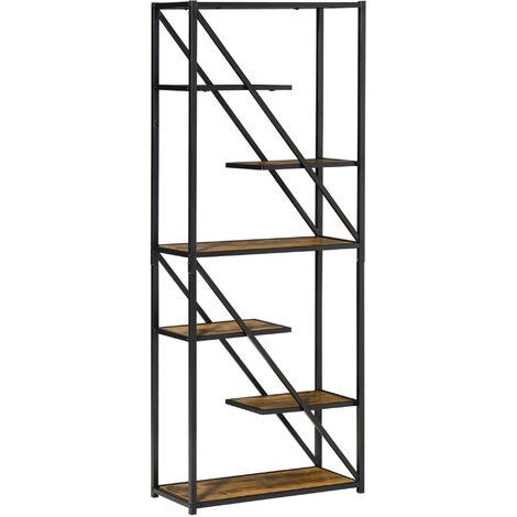 "main image of ""HOMCOM Industrial Storage Shelf Bookcase Standing Display Rack Living Room Study"""