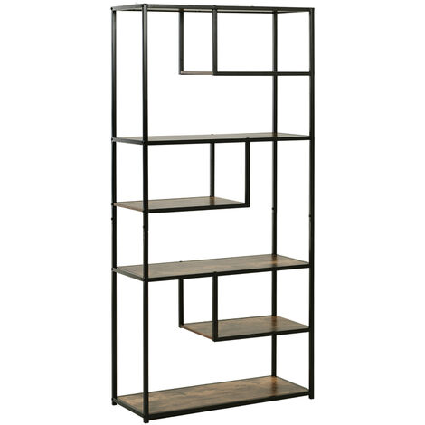HOMCOM Industrial Style Bookshelf w/ Metal Frame 6 Shelves Foot Pads Black Brown