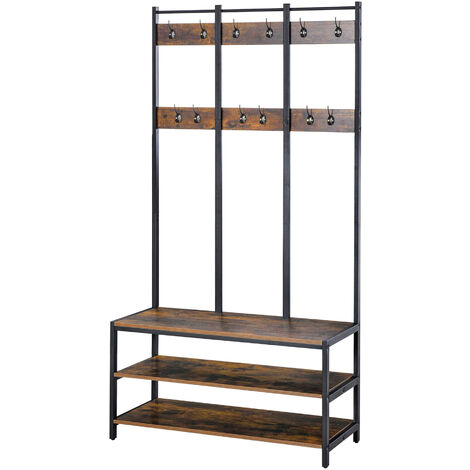HOMCOM Industrial-Style Coat Rack Hanging Stand w/ Hooks Bench Shoe Rack