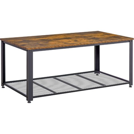 "main image of ""HOMCOM Industrial Style Coffee Table Metal Frame w/ Mesh Shelf Adjustable Feet MDF Top"""