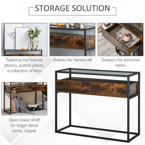 HOMCOM Industrial Style Console Table Desk w/Drawers Glass Shelf Home Furniture
