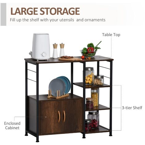 """main image of """"HOMCOM Industrial-Style Storage Shelf Side Table w/ Cabinet Home Furniture"""""""