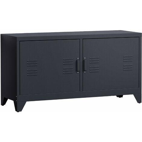 HOMCOM Industrial TV Cabinet Stand Media Center Steel Shelf Storage Unit