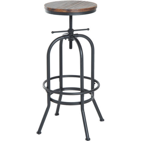 Homcom Industrial Vintage Bar Stool Height Adjustable Swivel Chair