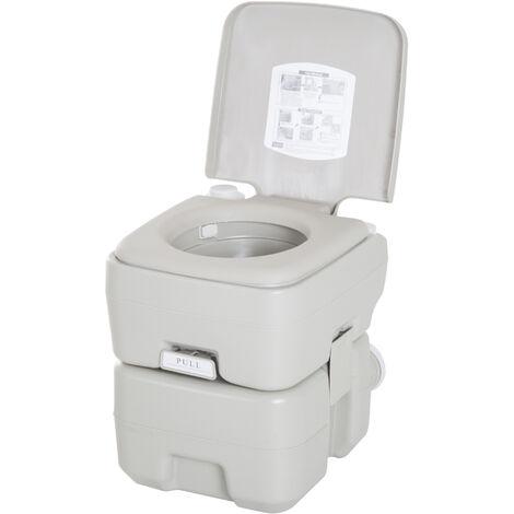 HOMCOM Inodoro Portátil Químico Baño WC para Camping Ancianos Caravana 20L con Tapa