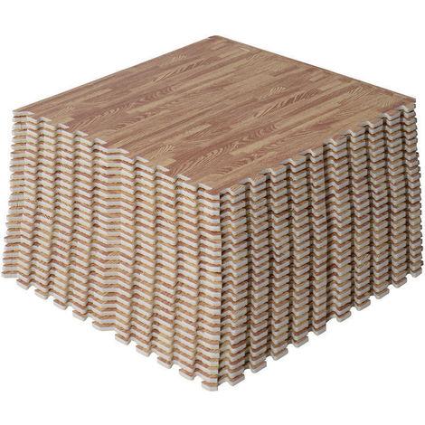 HOMCOM Interlocking EVA Foam Wood Grain Floor Mats 96 SQ FT / 24 Mats - Dark wooden