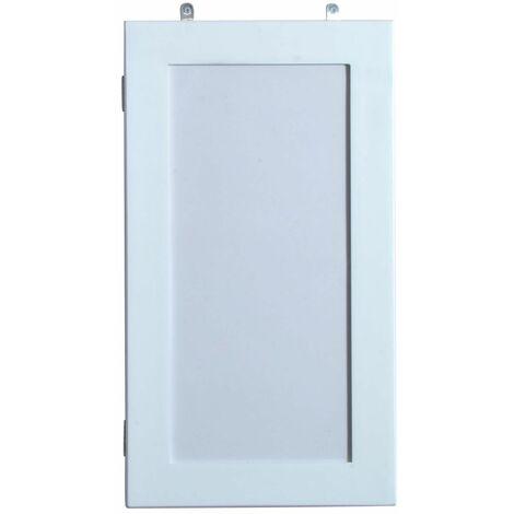 HOMCOM Joyero de Madera Armario para Joyas para colgar en Pared Altura 56cm con Espejo y Marco para Fotos Color Blanco Lacado