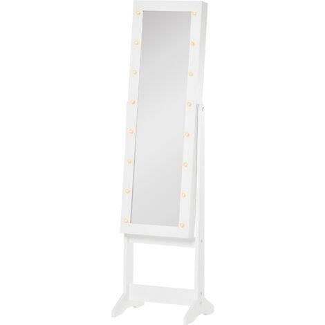 HOMCOM Joyero de Pie con Espejo Armario para Joyas 16 Luces LED Reclinable 36x30x136 cm Blanco