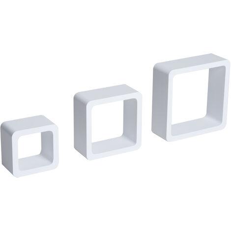 HOMCOM Juego de 3 Cubos Estantes de Pared Estantería para Libro CDs Baldas Flotantes Decorativo Blanco