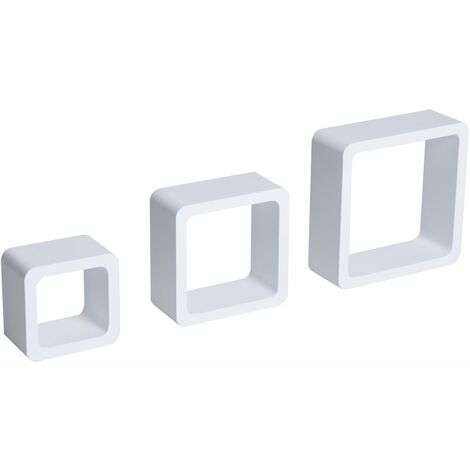 HOMCOM Juego de 3 Cubos Estantes de Pared Estantería para Libro CDs Decorativo Blanco