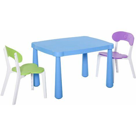 HOMCOM Juego Infantil de Mesa y 2 Sillas de Actividad y Aprendizaje 76,5x54,5x49,5 cm - Multicolor