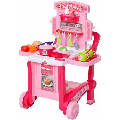 HOMCOM Juguete de Cocina Infantil Diseño 3 en 1 para +3 Años con 42 Piezas 59,7x47x42,5 - Rosa
