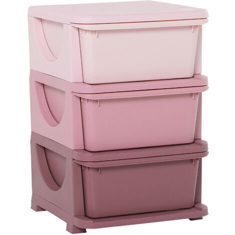 "main image of ""HOMCOM Kids 3 Drawer Storage Units Vertical Dresser Organiser Bedroom Pink"""