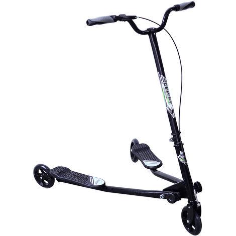 HOMCOM Kids 3 Wheels Foldable Speeder Push Scooter Tri Slider Black Large Type for Age 8+