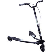 HOMCOM Kids 3 Wheels Foldable Speeder Push Scooter Tri Slider Black Large Type for Age 8+