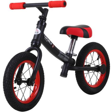 HOMCOM Kids Balance Bike Metal Frame Adjustable Seat w/ Rubber Tyres Black