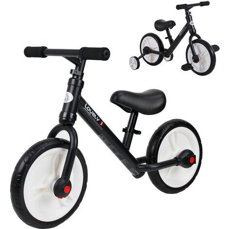 HOMCOM Kids Balance Bike Metal Frame Seat w/ Stabilisers Pedals 2-5 Yrs Black