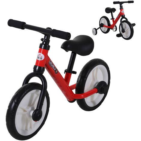 HOMCOM Kids Balance Bike Metal Frame Seat w/ Stabilisers Pedals 2-5 Yrs Red