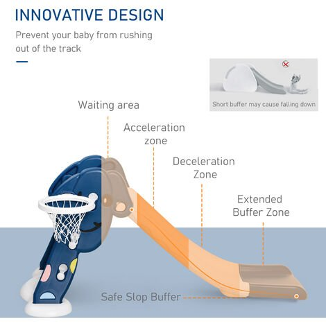 HOMCOM Kids Basketball Hoop Slide Outdoor Fun w/ Ball Toddler Climber