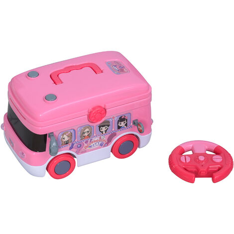 HOMCOM Kids Beauty Bus Tool Set Pretend Play w/ Remote Accessories Lights
