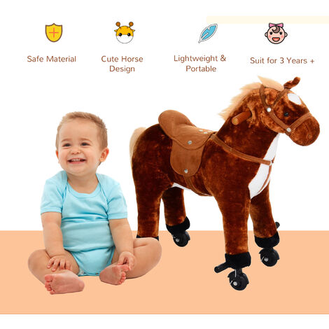 HOMCOM Kids Boys Plush Ride On Walking Horse Toy Wheels Foot Rest w/Neigh Sound (Brown)