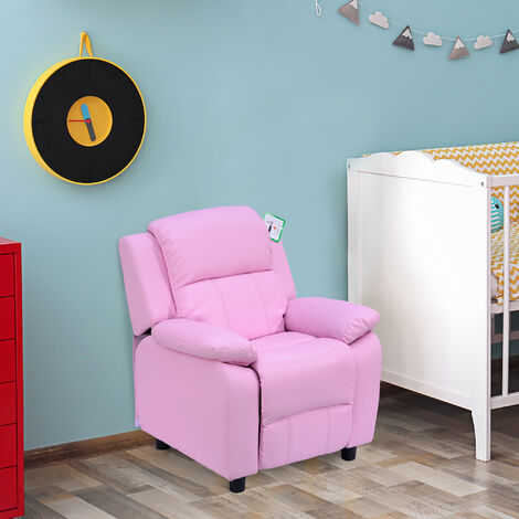 HOMCOM Kids Children Recliner Lounger Armchair Games Chair Sofa Seat PU Leather Look w/ Storage Space on Arms (Pink)