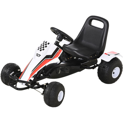 HOMCOM Kids Cool Pedal Go Kart Children Ride on Car w/ Adjustable Seat 3-8 Yrs