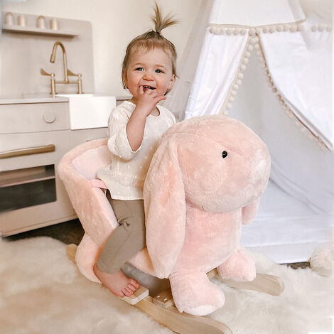 HOMCOM Kids Cute Rocking Rabbit Ride-On Plush Toy w/ Wood Frame Sound Effects