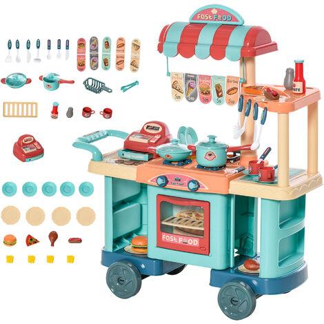 HOMCOM Kids Food Shop Cart Pretend Playset Kitchen Supermarket Toys Trolley Set