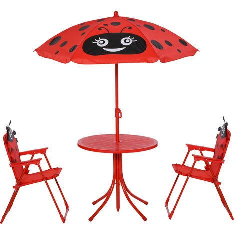 Homcom Kids Garden Picnic Table Chair With Uv Umbrella Foldable Patio Set Lady Bug Print Play