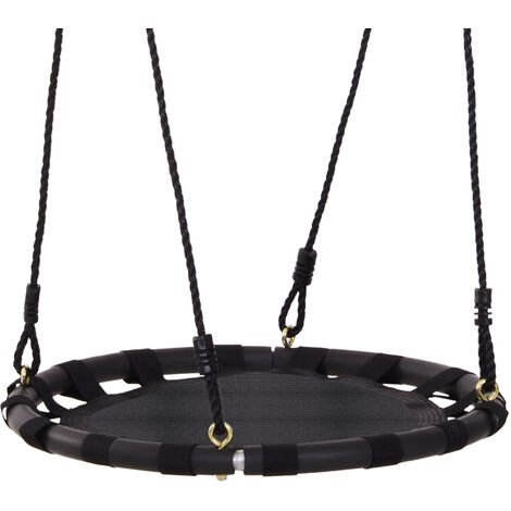 HOMCOM Kids Hanging Tree Swing Seat Backyard Playground Black Outdoor 60cm