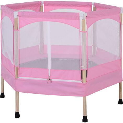 HOMCOM Kids Hexagon Trampoline Outdoor Fun w/ Safety Net Spring Pad Pink