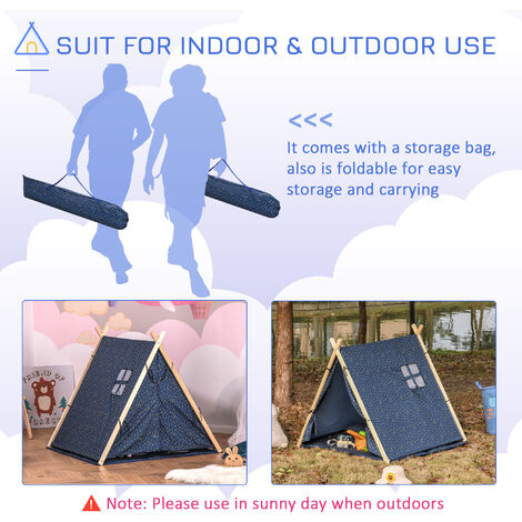 HOMCOM Kids Indoor Outdoor Teepee Play Tent Playhouse w/ Mat Pillow Carry Bag