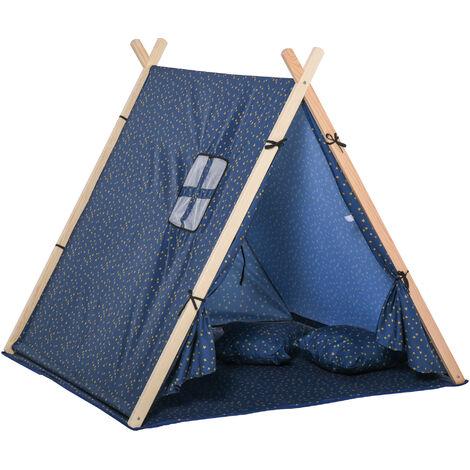 "main image of ""HOMCOM Kids Indoor Outdoor Teepee Play Tent Playhouse w/ Mat Pillow Carry Bag"""