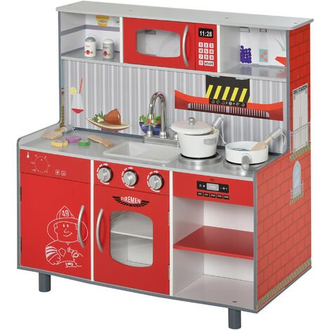 HOMCOM Kids Kitchen Play Set Cooking House Educational w/ Accessories Red