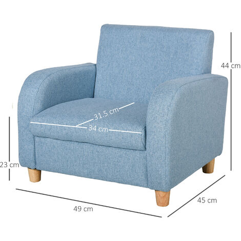 HOMCOM Kids Linen Luxe Armchair Bedroom Playroom Seat w/ Wood Frame Blue