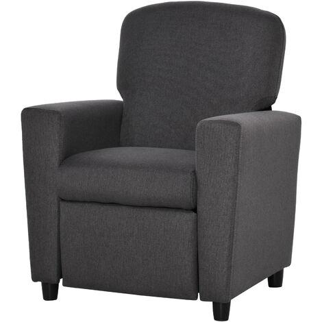"main image of ""HOMCOM Kids Linen Recliner Armchair Single Seat Sofa w/ Footrest Bedroom Grey"""