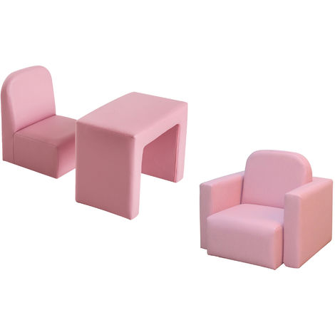 HOMCOM Kids Mini Sofa 3 In 1 Table Chair Set Children Armchair Seat - Pink