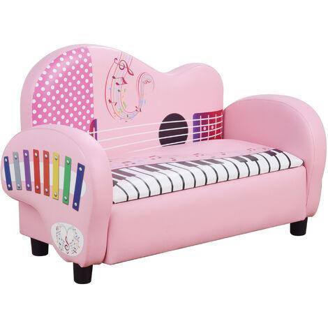 HOMCOM Kids Piano 2-Seater Sofa w/ Storage Armchair Soft Padded Pink