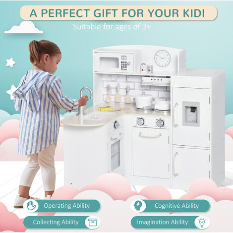 """main image of """"HOMCOM Kids Play Kitchen Wooden Toy Kitchen Cooking Set for Children with Drinking Fountain, Microwave, and Fridge White"""""""